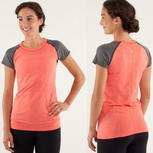 Lululemon Coral & Gray Swiftly Tech Short Sleeve